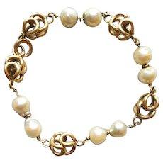 14k Yellow Gold Bracelet Stunning Baroque Pearls Custom Design 15.6 Grams