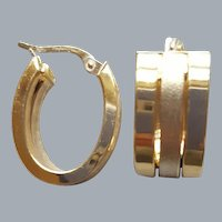 14K Yellow and White Gold Triple Hoop Earrings 5 Grams