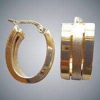 14K Yellow and White Gold Triple Hoop Earrings 5 Grams