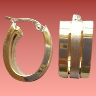 Exquisite 14K Yellow and White Gold Triple Hoop Earrings 5 Grams