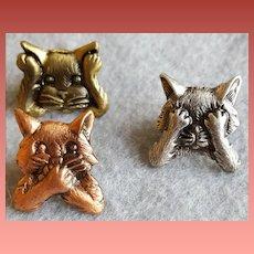 Cat Scatter Pins by J.J. See no Evil Hear No Evil Speak No Evil