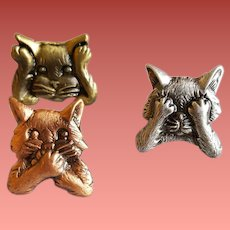 Cat Scatter Pins by J.J. See no Evil Hear No Evil Speak No Evil