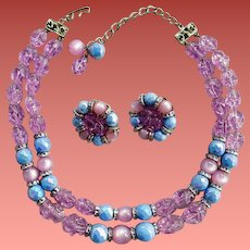 Vintage Necklace with Earrings Hobe' Parure Lavender Blue Silver 1960s