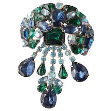 Regency Rhinestone Brooch Blue and Green Girandole Vintage Va Voom 1960's