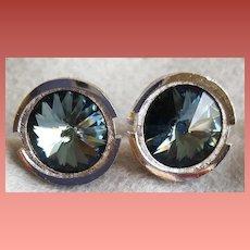 Vintage Cuff Links Smokey Blue Rivoli Rhinestone Mint