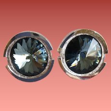 Vintage Cuff Links Smokey Blue Rivoli Rhinestone Mint