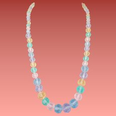 Long Necklace Faceted Frosted Lucite Beads Pastels