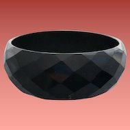 Wide Black Bakelite Bangle Diamond Carved Facets Fabulous