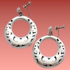 Sterling Silver Taxco Shadow Box Earrings 9 grams