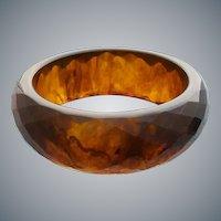 Root Beer Bakelite Bangle Bracelet Carved Diamonds