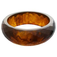 Root Beer Bakelite Bangle Bracelet Carved  Diamonds