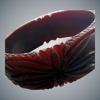 Fully Carved Burgundy Bakelite Bangle Bracelet