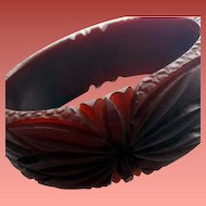 Burgundy Bakelite Bangle Bracelet Wide Fully Carved