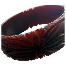 Burgundy Bakelite Bangle Bracelet Wide Fully Carved