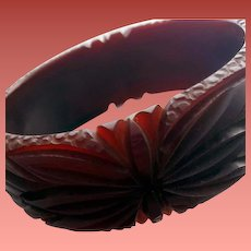 Bakelite Bangle Bracelet Wide Fully Carved Burgundy