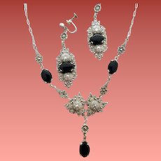 1920s Sterling Necklace with Earrings Onyx Marcasites Germany