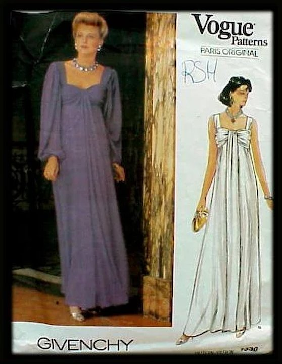 Sale Vintage Sewing Pattern Givenchy Vogue 1530 Evening Dress Wedding Gown  Bust 36