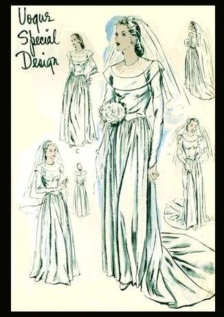 1940s wedding gown sewing pattern vogue evening dress bust for 1940s wedding dress patterns