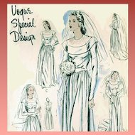 1940s Wedding Gown Sewing Pattern Vogue Evening Dress Bust 36