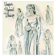 1940s Wedding Gown Sewing Pattern Vogue Evening Dress Bust 36