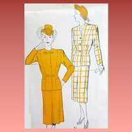 Women's 1940s Vintage Suit Sewing Pattern Extra Large Bust 40 Mint
