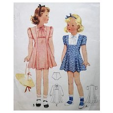 Vintage Sewing Pattern Little Girls Dress McCalls 1939 Size / Age 4