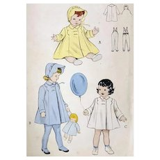 1940s Sewing Pattern Baby Bonnet Coat and Stirrup Leggings by Butterick 6240