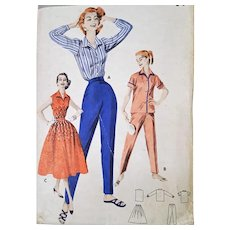 Multi Piece Sewing Pattern 1950s Skirt Blouses Toreador Pants Size Medium Bust 34