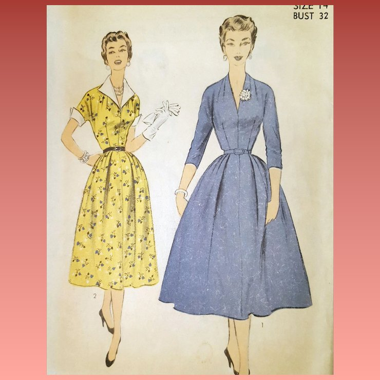 1950s Sewing Pattern Vintage Dress Casual Or Cocktail Bust 32 Small