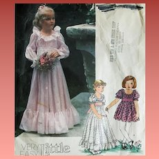 Very Easy Little Vogue Sewing Pattern Long Gown Short Dress Size Age 6