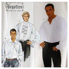 Men's Romantic Shirt Hero Pirate Vintage Sewing Pattern S,M,L