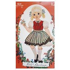 Vintage Sewing Pattern Little Darlings Dress Dirndl Apron Enchanted Forest 6,7,8