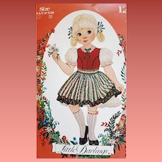Vintage Sewing Pattern Little Darlings Dress Dirndl Apron Enchanted Forest 6,7,8