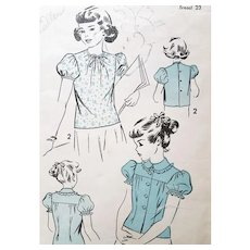 1940s Sewing Pattern for Little Girls Blouse Size / age 4