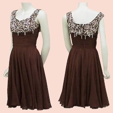 1960s Silk Beaded Rhinestone Cocktail Dress Ceil Chapman Designer