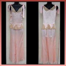 1930s Silk Pajamas Lingerie Ribbon Rosettes Lace Insets Size Small Gorgeous