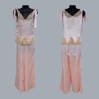 1930s Pink Silk Pajamas Ribbon Rosettes Lace Size Small