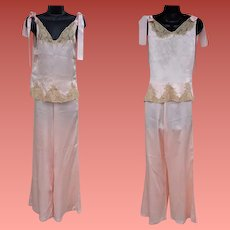 1930s Silk Pajamas  Ribbon Rosettes and Lace Size Small