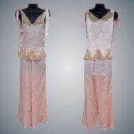 1930s Silk Pajamas Ribbon Rosettes Lace Size Small