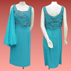Beaded Cocktail Dress 1960s Turquoise Silk Beaded Bodice Bust 36