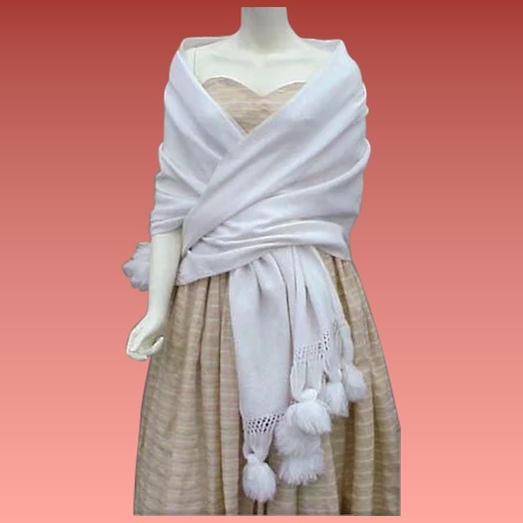 Dramatic White Evening Shawl Vintage Evening Gown Cover Up ...