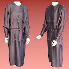 1920s Silk Charmeuse Dress  Extra Large Opera Mauve Downton Abbey Era