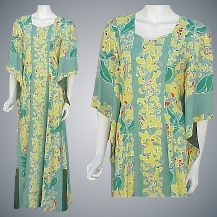 87379c7d69 Kamehameha Hawaiian Gown Pake Spun Rayon Dress 1940s Lg. Large ...