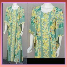 Kamehameha Hawaiian Gown Pake Spun Rayon Dress 1940s Lg. Large