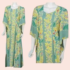Kamehameha Hawaiian Gown Pake Spun Rayon Dress 1940s Lg. Large