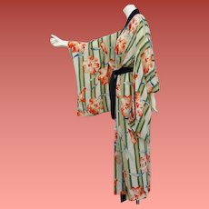 Early Vintage Hand Painted Silk Kimono Unworn Tiger Lily