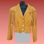 Women's Vintage 1980s Suede Leather Jacket Fringed by Pioneer Wear Size Large