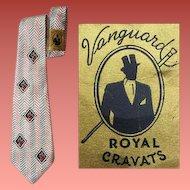 1940s Wide Rayon Necktie Vanguard Cravats Neck Tie NOWT