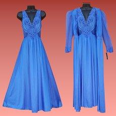 Vintage Blue Olga Nightgown with Peignoir Size Large Unworn