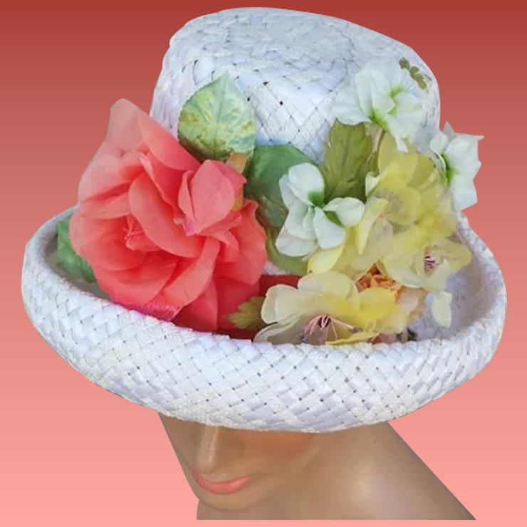 Vintage 1960s hat with coral white yellow flowers on woven white vintage 1960s hat with coral white yellow flowers on woven white straw mightylinksfo